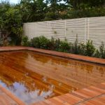 Wooden deck with water pool